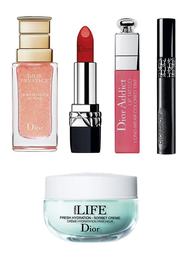 Dior, Óleo Facial La Micro-huile de Rose Dior Prestige (R$ 989). Batom Double Rouge (R$ 159). Lip Tattoo Dior Addict (R$ 149), Máscara de Cílios Pump'n'Volume Diorshow (R$ 175). Hidratante Facial Sorbet Crème (R$ 299) (Foto: Divulgação)