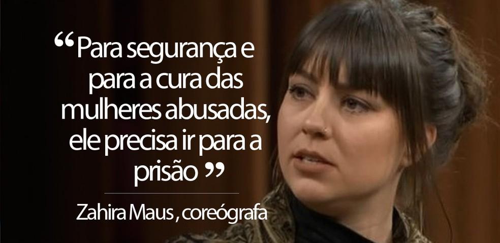 Zahira Leeneke Maus, coreógrafa que denunciou João de Deus — Foto: Reprodução/TV Globo