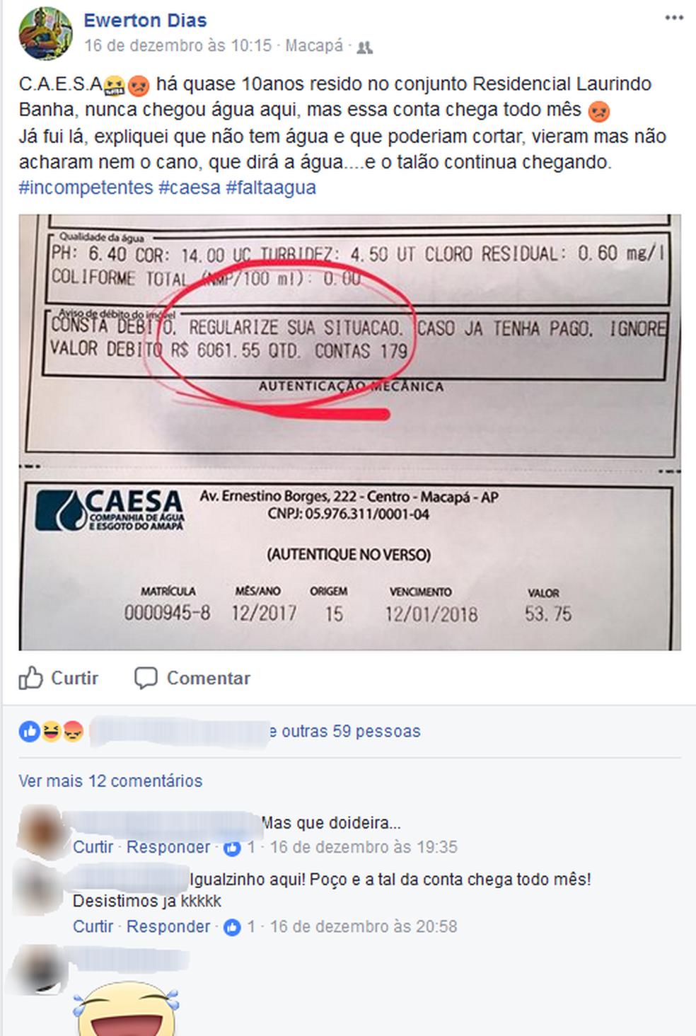 Morador reclamou sobre situação na rede social Facebook (Foto: Reprodução/Facebook)