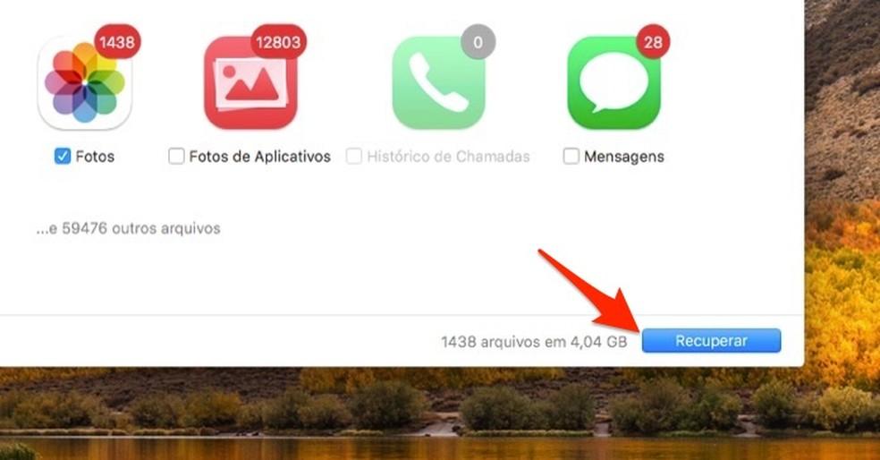 Ação para recuperar fotos deletadas do iPhone com o software Data Recovery — Foto: Reprodução/Marvin Costa