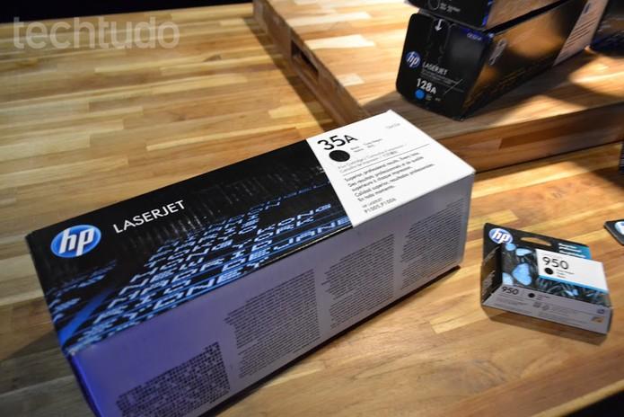 Embalagens de toners e cartuchos de tinta HP, alvo de pirataria (Foto: Melissa Cruz /TechTudo)