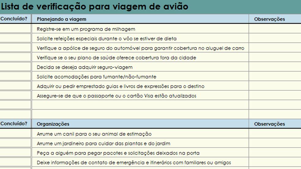 Planilha para Excel ajuda a se organizar para viagens (Foto: Reprodução/Paulo Alves)