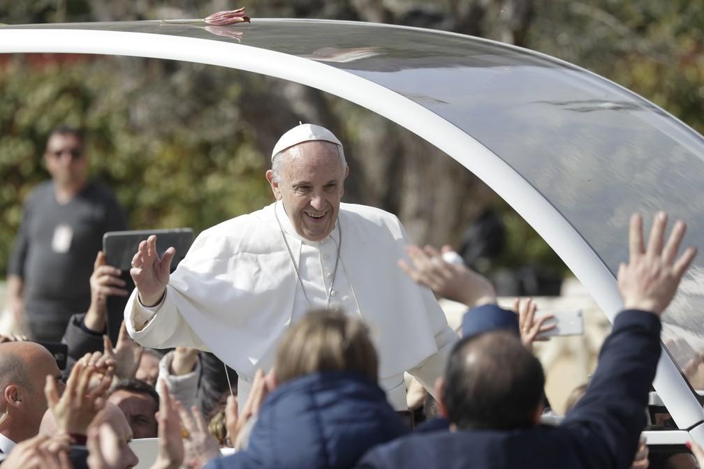 Papa Francisco visita  San Giovanni Rotondo, na Itália (Foto: AP Photo/Gregorio Borgia)