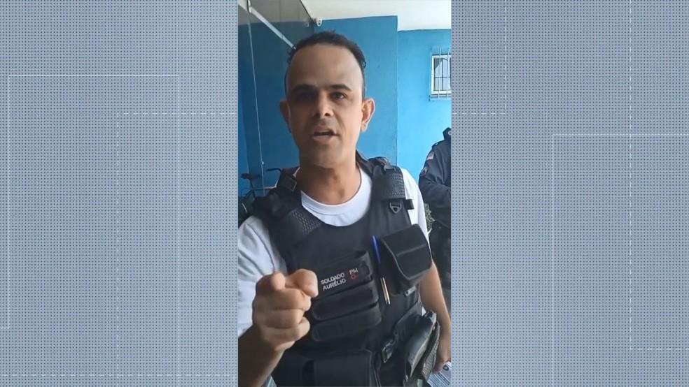Soldado Aurélio, da PMES — Foto: Reprodução/TV Gazeta