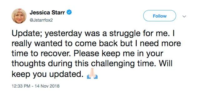 O tuíte final da jornalista e apresentadora Jessica Starr (Foto: Twitter)