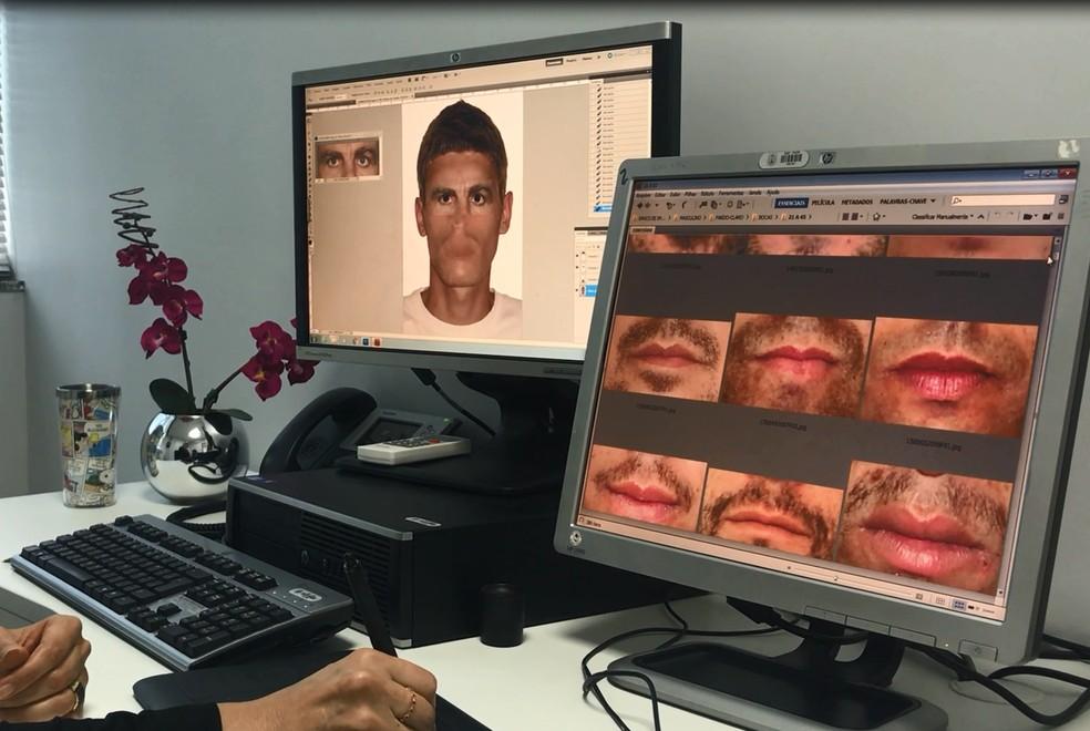 Papiloscopista usa banco de dados da PCDF para montar retrato falado de suspeito (Foto: Marília Marques/G1)