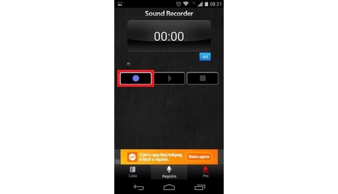 Destaque para botão Recorder no app Gravador de Áudio (Foto: Reprodução/Raquel Freire)