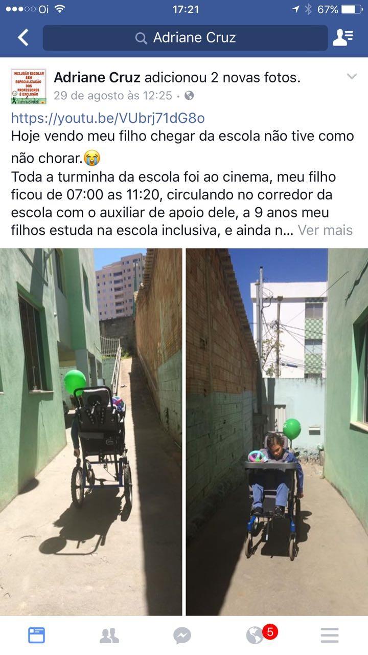 criança com deficiência que ficou na escola (Foto: Arquivo Pessoal)