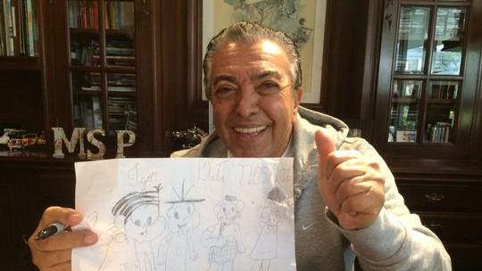 Maurício de Sousa faz desenho exclusivo para o filho do baterista da Georgia, do 'SuperStar'