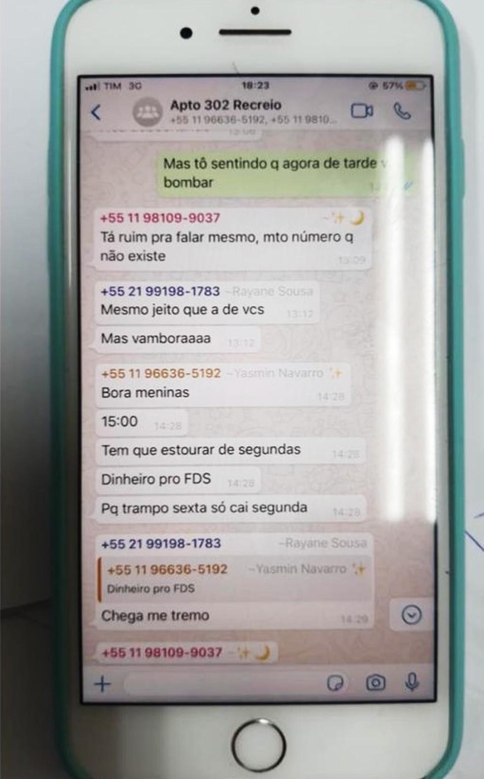 Print da conversa da conversa das supostas estelionatárias do Rio — Foto: Reprodução
