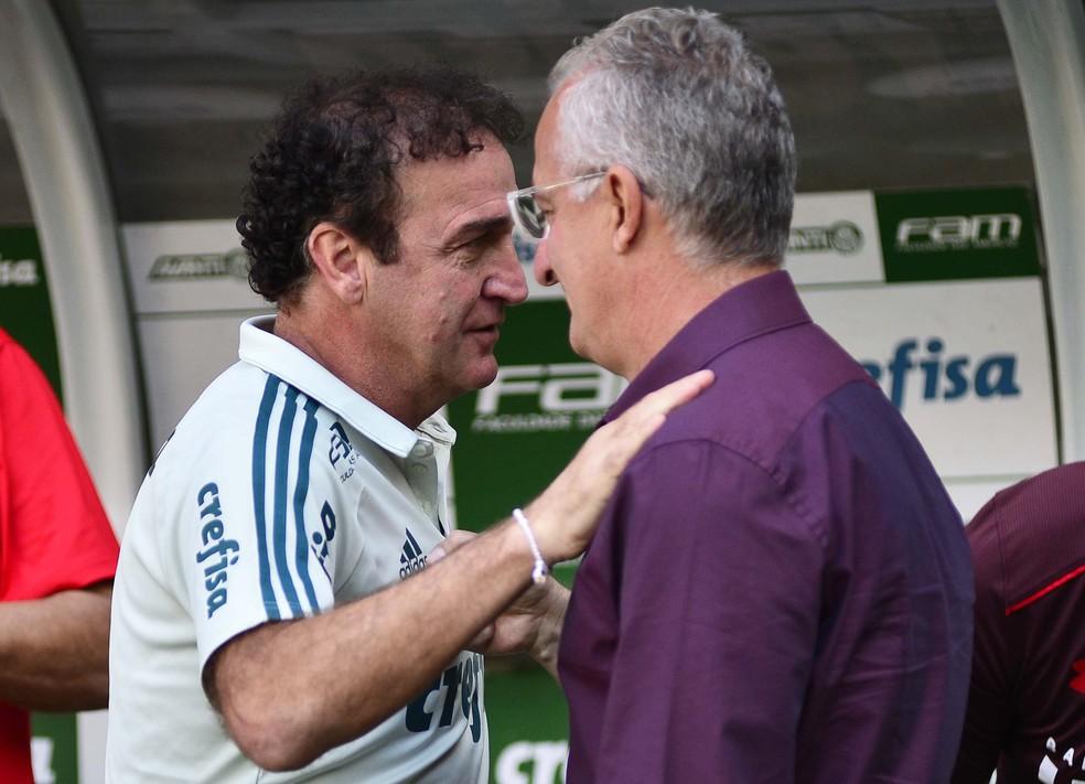 Cuca e Dorival Júnior, técnicos de Palmeiras e São Paulo, antes do clássico (Foto: Marcos Ribolli)