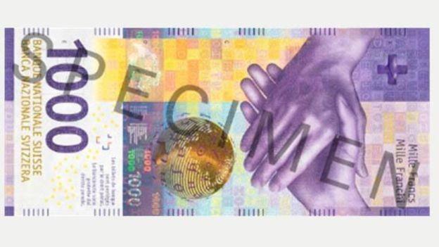 A nota de mil francos suíços é uma das mais valiosas do mundo (Foto: SNB ARCHIVE/BBC)
