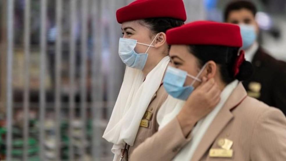 Trabalhadoras da Emirates — Foto: Getty Images
