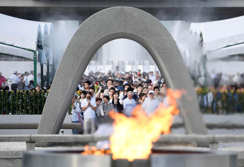 Cerimônia em homenagem às vítimas da bomba atômica de Hiroshima (Foto: Kyodo/via REUTERS )