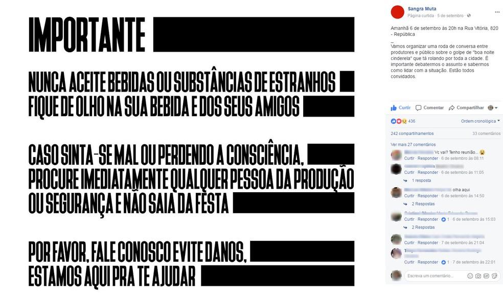 Produtores de festas em São Paulo se reuniram em setembro para discutir golpe (Foto: Reprodução/Facebook)