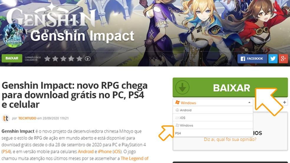 """Selecione Windows entre as plataformas disponíveis de Genshin Impact e clique em """"Baixar"""" — Foto: Reprodução/Rafael Monteiro"""