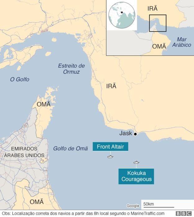 Mapa do Estreito de Ormuz (Foto: BBC)