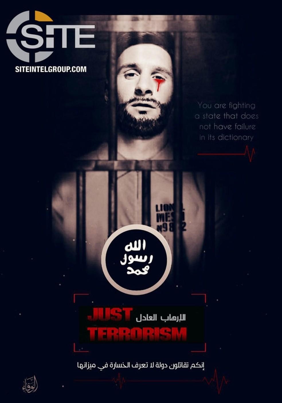 Imagem divulgada pelo Estado Islâmico com ameaça a Leonel Messi (Foto: Reprodução/Twitter/SITE)