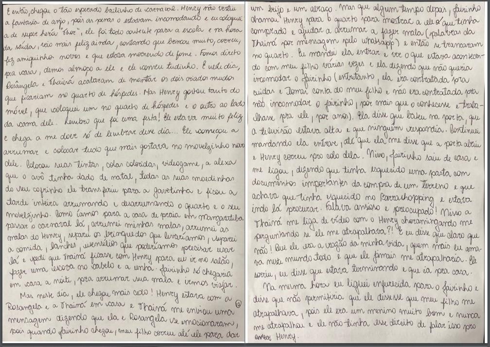 Caso Henry Borel: carta de Monique Medeiros (parte 12) — Foto: Reprodução