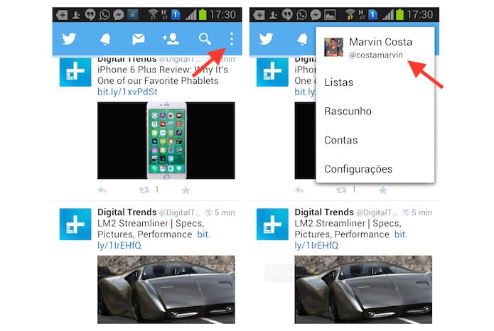 Acessando as configurações de perfil do Twitter no Android (Foto: Reprodução/Marvin Costa)