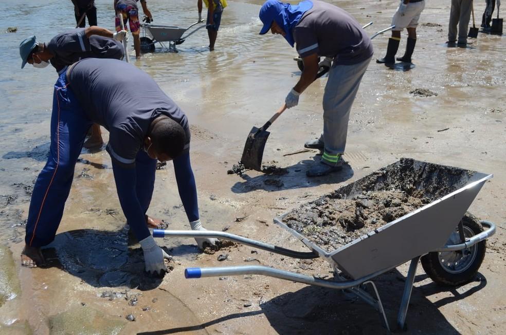 Detentos retiram óleo cru das praias alagoanas — Foto: Ascom/Seris