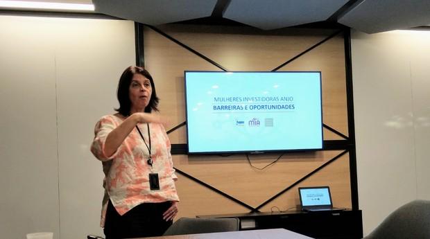Maria Rita Spina durante apresentação no Encontro de Mulheres Investidoras Anjo (Foto: Reprodução)