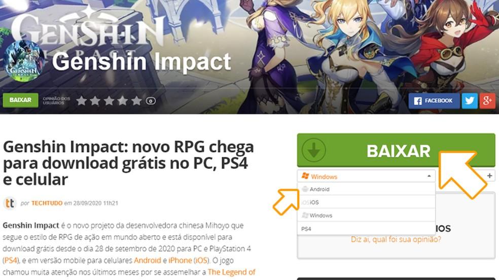 """Selecione Android entre as plataformas disponíveis de Genshin Impact e clique em """"Baixar"""" — Foto: Reprodução/Rafael Monteiro"""