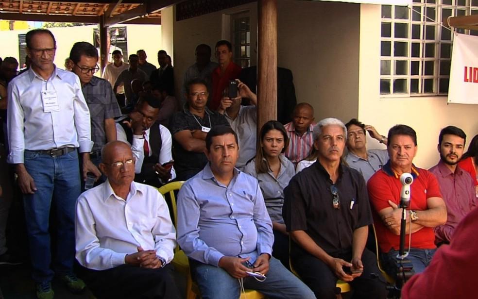 Convenção Estadual do PDT em Goiânia, Goiás (Foto: TV Anhanguera/Reprodução)