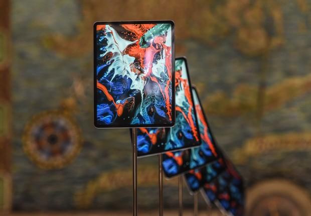 Nova versão do iPad Pro é exibida após anúncio da Apple em NY (Foto: Stephanie Keith/Getty Images)