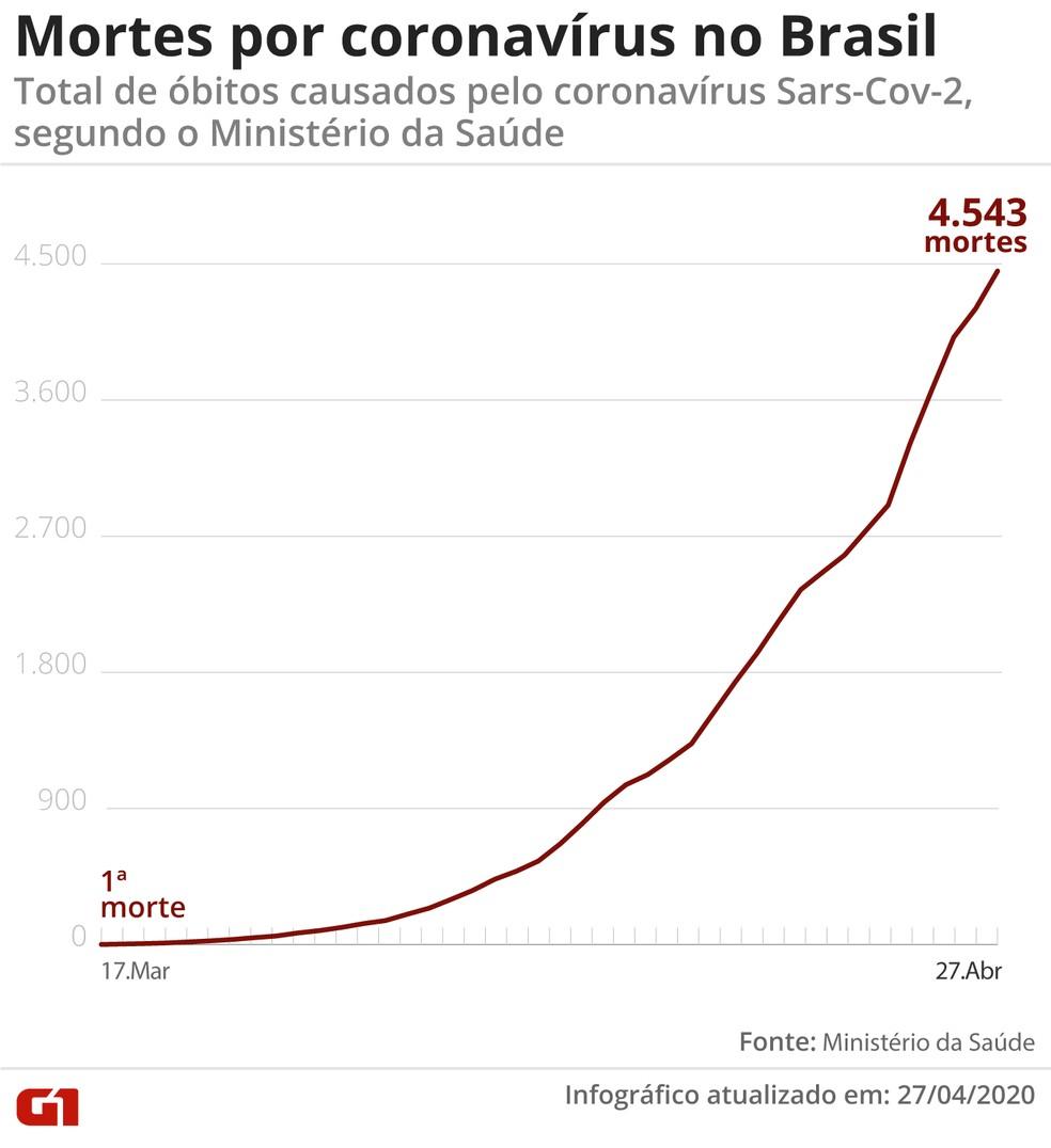 Brasil registra 4.543 mortes — Foto: Guilherme Pinheiro / G1