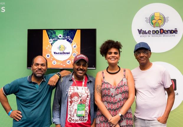 Da esquerda pra direita: Rosenildo Ferreira, diretor de inovação e marketing; Paulo Rogério Nunes, diretor-executivo; Ítala Herta, diretora de operações; e Hélio Santos, diretor de relações governamentais e mentorias da Vale do Dendê (Foto: Divulgação;)