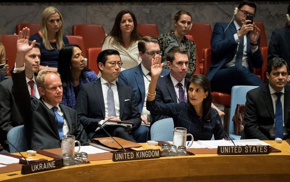 Embaixador do Reino Unido na ONU, Matthew Rycroft, e a embaixadora dos EUA, Nikki Haley, levantam as mãos durante votação de novas sanções contra a Coreia do Norte na sede do Conselho de Segurança da Onu, em Nova York, na segunda-feira (11) (Foto: Drew Angerer/Getty Images/AFP)