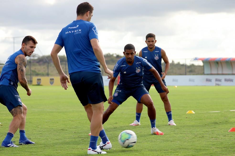Zeca, Anderson Martins, Ramon e Marco Antônio em treino do Bahia — Foto: Felipe Oliveira / EC Bahia / Divulgação