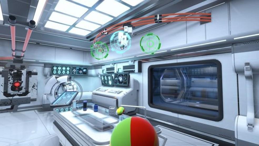 O game de realidade virtual da Neurable permite que jogadores movam objetos apenas com o pensamento (Foto: Neurable/Divulgação )