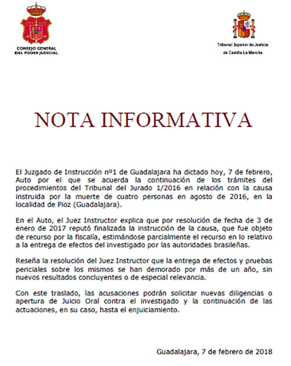 Nota informativa foi publicada na quarta-feira pela Justiça da Espanha sobre o caso de Pioz (Foto: Reprodução)