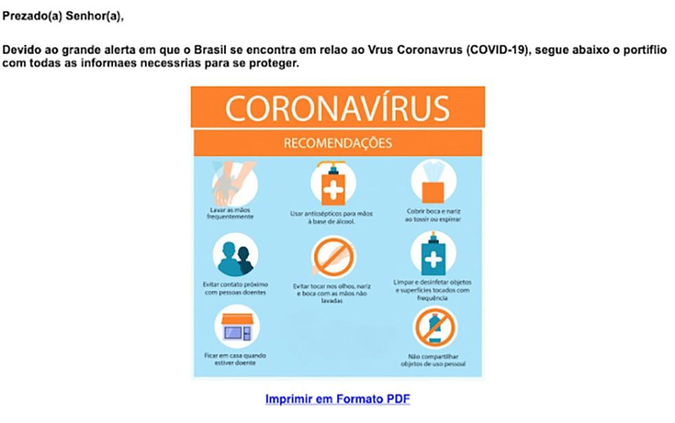 E-mail falso que propaga a praga digital Astaroth usando o tema do novo coronavírus e a Covid-19. — Foto: Reprodução/Cisco Talos