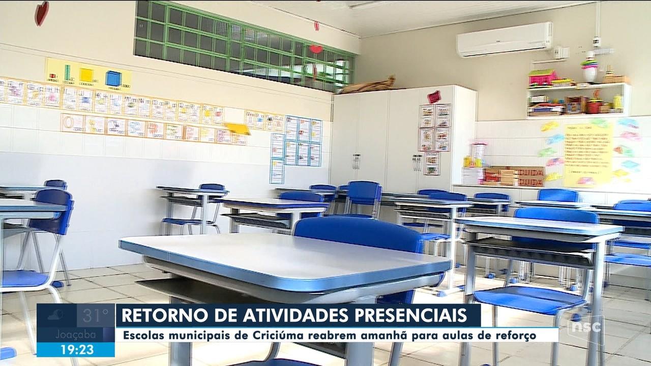 Atividades presenciais recomeçam nas escolas municipais de Criciúma nesta quarta (21)