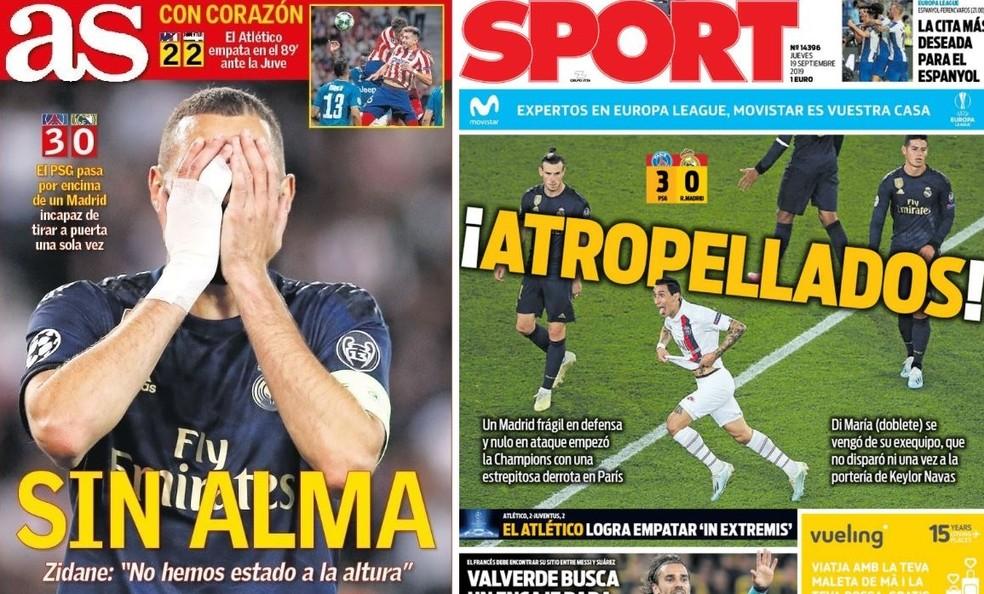 """Capas dos jornais """"As"""" e """"Sport"""" desta quinta-feira — Foto: Reprodução de Twitter"""