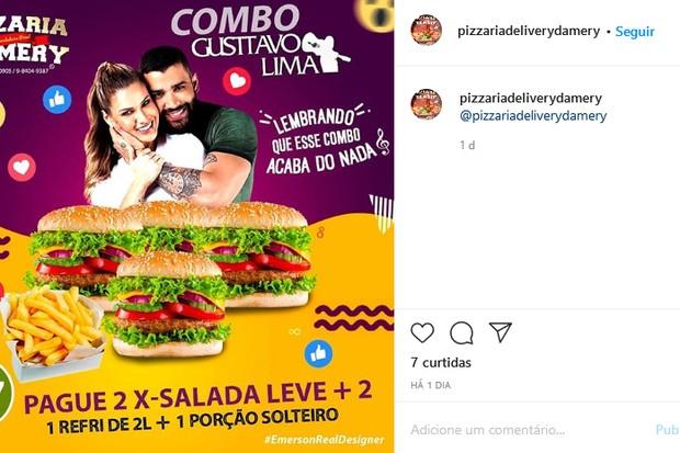 Pizzaria lança promoção usando o fim do casamento de Gusttavo Lima e Andressa Suita (Foto: Reprodução/Instagram)