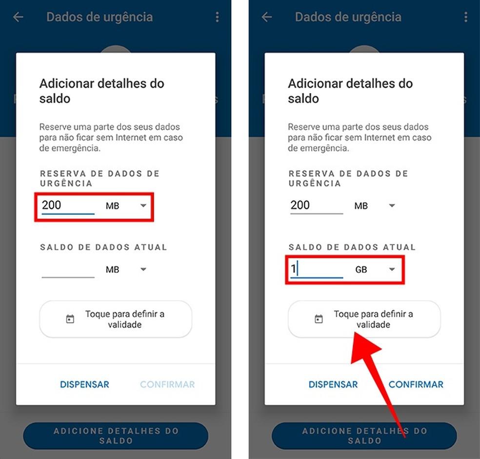 Defina a reserva e o total de dados disponíveis (Foto: Reprodução/Paulo Alves)