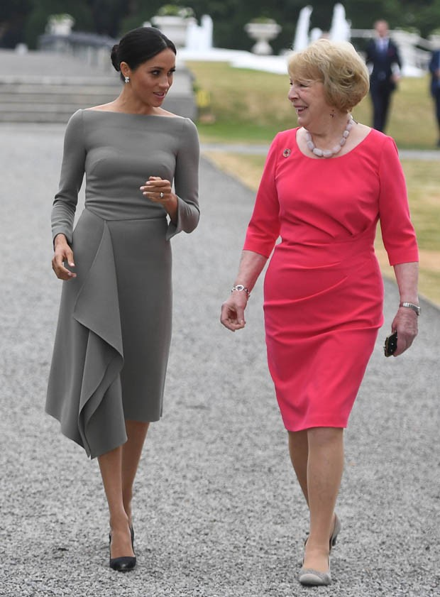 Meghan Markle e a primeira dama da Irlanda, Sabina Coyne (Foto: Getty Images)