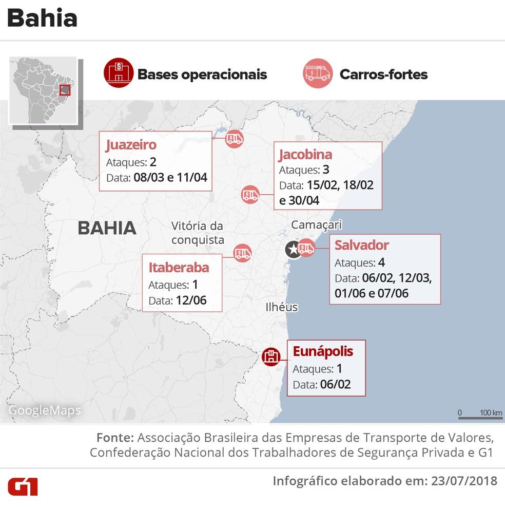 Ataques a carros-fortes na Bahia no 1° semestre de 2018 (Foto: Juliane Monteiro e Karina Almeida/G1)