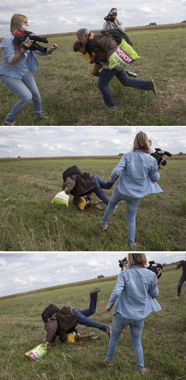 Sequência mostra homem correndo com criança e tropeçando na perna da cinegrafista húngara (Foto: Reuters/Marko Djurica)