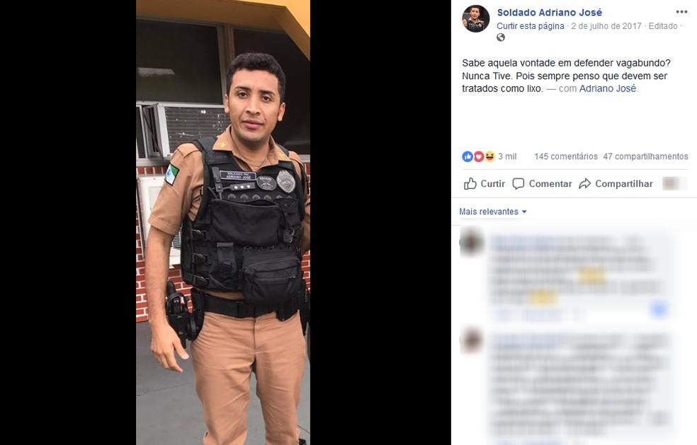 Soldado Adriano José (PV) — Foto: Reprodução/Facebook
