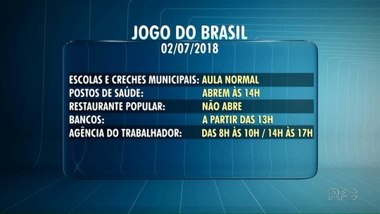 Jogo do Brasil altera funcionamento de serviços em Ponta Grossa e Guarapuava, nesta segunda-feira