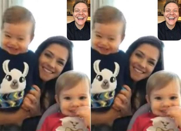 Michel Teló conversa com Thais Fersoza e filhos pela web (Foto: Reprodução)