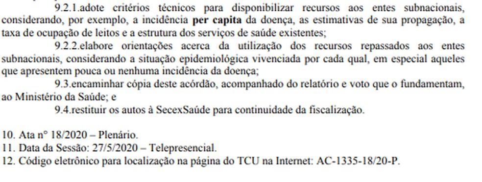 Trecho de acórdão do TCU com recomendações ao governo federal — Foto: Reprodução