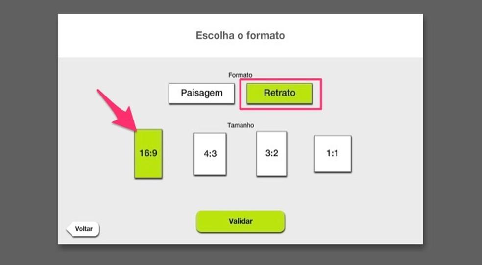 Ação para definir o formato de um vídeo que será criado pelo serviço online Kizoa — Foto: Reprodução/Marvin Costa
