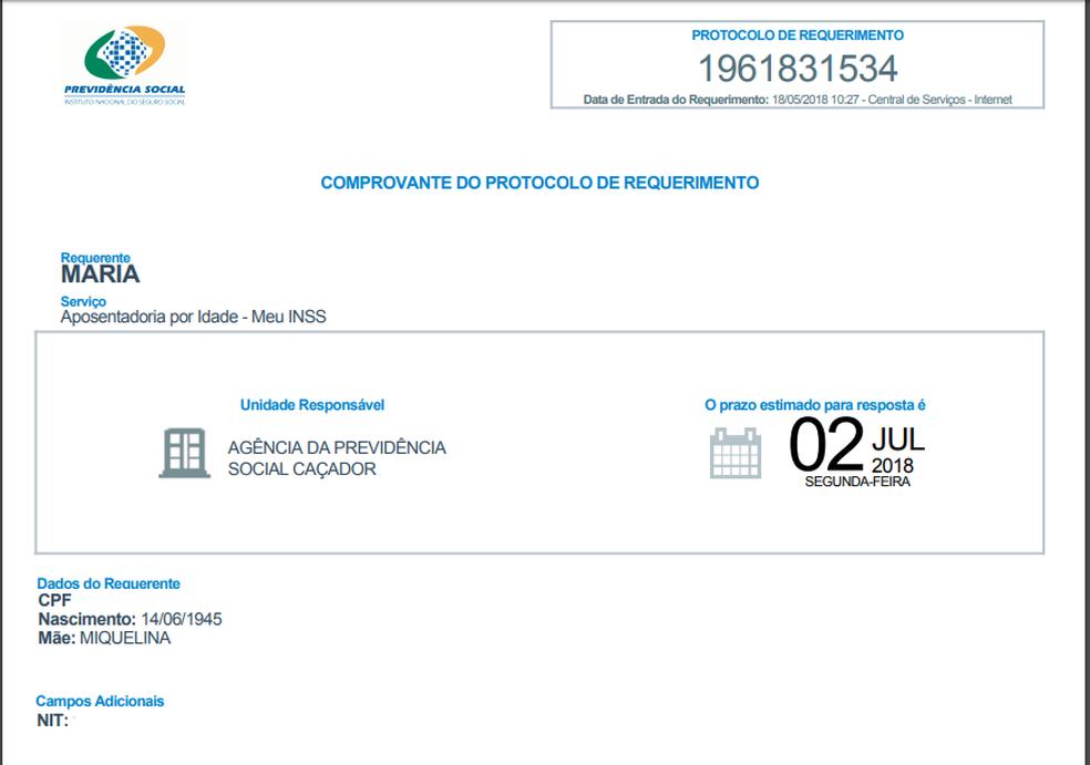 Meu INSS gera comprovante de requerimento de aposentadoria para usuário (Foto: Reprodução/Meu INSS)