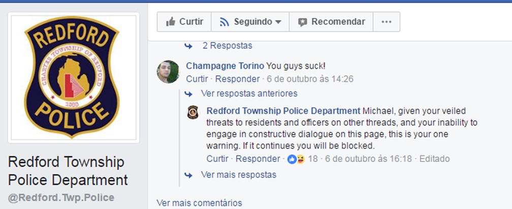 Polícia ameaçou procurado de block (Foto: Redfort Township Police Department/Facebook)